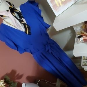 Blue flutter sleeve jumpsuit